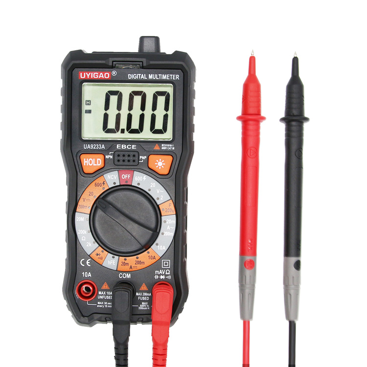 digital multimeter with CE RoHS 2000 counts ac dc resistance ua9233a