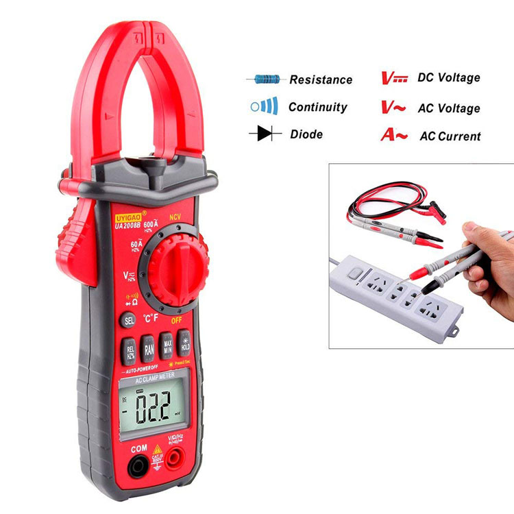 Best price Mini Frequency Test NCV Multimetro Smart 6000 Counts Digital Clamp Amperimetro UA2008B