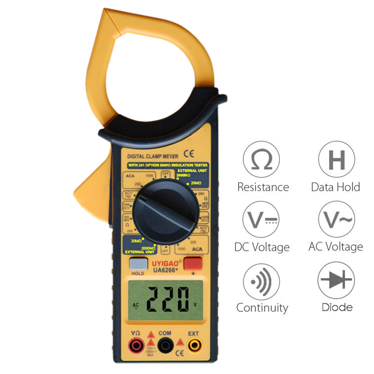 2000M ohm manual ac dc resistance insulation tester 6 266 digital clamp meter with rohs ce